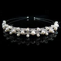 Bridal Bridesmaid Flower Girl Wedding Party Crystal Pearl Crown Headband Tiara