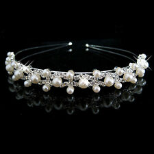 Bridal Bridesmaid Flower Girl Wedding Party Crystal Pearl Crown Headband Tiara