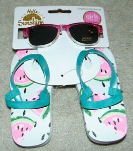 ~NWT Girls HELLO SUNSHINE Watermelon Flip-Flops & Sunglasses! Size 0-3 Yrs FS:)~