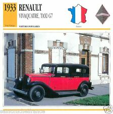 RENAULT VIVAQUATRE, TAXI G7 1933 CAR VOITURE FRANCE CARTE CARD FICHE