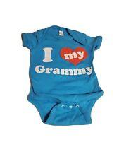"""Rabbit Skins Baby 12 months Unisex Blue One Piece """"I <3 My Grammy"""""""