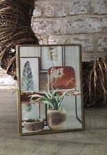 Vintage Brass Antiqued Metal Glass Photo Portrait Picture Frame
