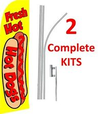 2 (two) Fresh Hot Hot Dogs 15' Swooper #1 Feather Flags Kit with poles+spikes