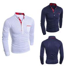 Fashion Men's Casual Slim Fit Polo Shirt Stylish Long Sleeve T-shirt Tops Tee