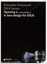 Prospekt Schneider DSLR Lenses 2014 Xenon 1.6/35 1.4/50 mm Makro Symmar lens