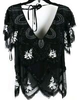 American Retro Black Beaded Embellished Short Sleeve Sheer Evening Top size 42
