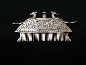 Antique Sterling Silver Perfume With Peacocks And Comb Unique Rare-Early 1800's