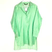 Zara Woman Oversized Shirt Sz Small Green White Striped Long Sleeve Long Blouse