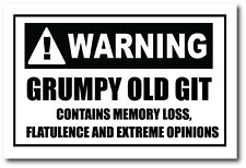WARNING GRUMPY OLD GIT - Humorous / Fun / Novelty Vinyl Sticker 16cm x 10cm