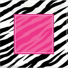 PINK ZEBRA STRIPES LARGE PAPER PLATES (8) ~ Birthday Party Supplies Dinner Lunch