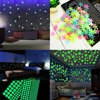 200 Pcs 3D Stars Glow In The Dark Luminous Fluorescent Wall Stickers Room Decors