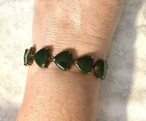 Vtg Jade & Silver Heart Link Bracelet