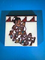 "Earthtones storyteller decorative 6"" tile trivet wall decor 1995 made in U.S.A."
