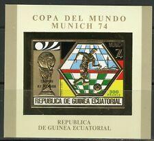 Guinea Equatoriale 1976 Football MUNICH 1974 Glod Foil Michel Bloc A124 imperf