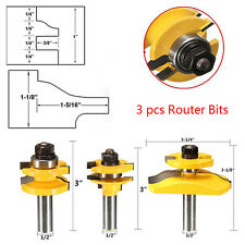 """3pcs 1/2"""" Shank Rail&Stile Woodworking Cutter Panel Cabinet Router Bits Easy Use"""