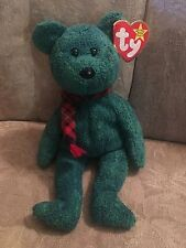 Ty Beanie Babies 1999 Wallace Green Teddy Bear  Scarf Tag Price Sticker Residue