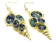 Coastal Gold Conch Shell Blue Aqua Crystals SEASHELL Sea Life Earrings NWT New