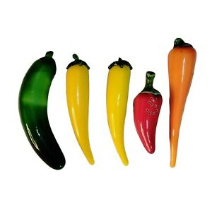 Murano Style Glass ~ 5 Pcs Pepper Vegetable Lot Green~ Red ~Yellow~Carrot