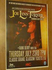 Joe Lynn Turner (Rainbow / Deep Purple) Glasgow 2015 concert tour gig poster