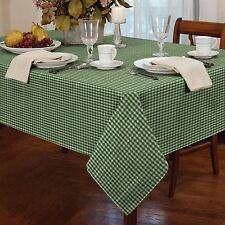 "GINGHAM CHECK GREEN WHITE ROUND 60"" 152CM TABLE CLOTH"