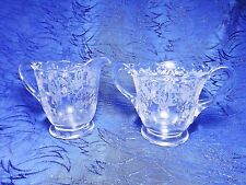 Clear Glass Sugar and Creamer Etched Design