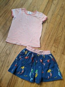 HANNA ANDERSSON 110 US 5 pink striped SHIRT mermaid blue SKIRT skort SET