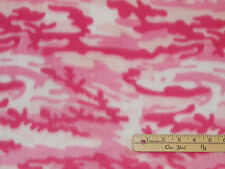 Pink & White Camouflage Camo Fleece Fabric by the Yard