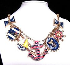 Betsey Johnson navy style rudder/anchor/shield collocation bib Necklace #562L