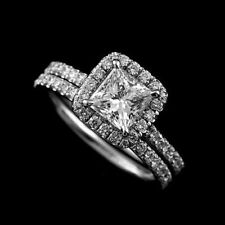 Certified 2.00ct Princess Diamond Engagement Ring Wedding Band in 14K White Gold