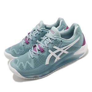 Asics Gel-Resolution 8 D Wide Smoke Blue White Women Tennis Shoes 1042A097-403