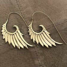 Goddess Wings Feather Tribal Earrings in Brass