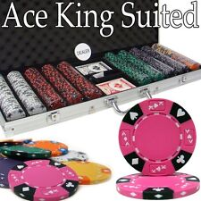 500 Ace King Suited 14g Clay Poker Chips Set with Aluminum Case - Pick Chips!