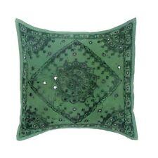 "Cotton Indian Art Mirror Work Kantha Handmade Bed Pillow Cushion Cover 16"""