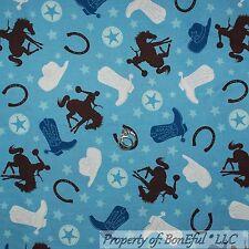 BonEful Fabric FQ Cotton Quilt Blue White Brown Star Cowboy Boots Hat Horse Shoe