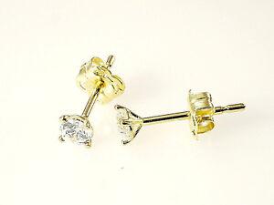 333 Gold Ohrstecker 1 Paar 3mm Grösse 4 Krappen mit Zirkonia Steinen