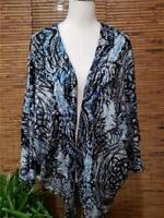 St Johns Bay Knit Cardigan Shirt M L Circle Dolman Sleeve Layering Floral