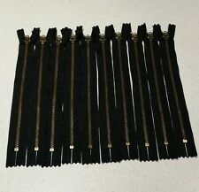 Lot Of 10 YKK 8.5 Inch Closed End Zippers Black