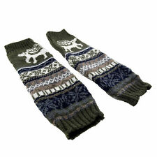 Knitted Olive Green Holiday Reindeer Knee High Leg Warmers Comfy Winter Wear