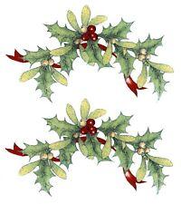 "8 pcs Holly Berry Mistletoe 2-1/8"" X 1-1/8"" Waterslide Ceramic Decals Xx"
