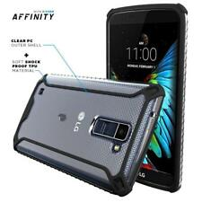 For LG K7 [Slim Thin] TPU Bumper Shockproof Black/Clear Cover Case