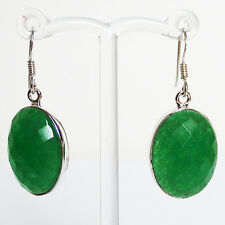 925 Sterling Silver Semi-Precious Natural Stone Drop Earrings - Green Onyx