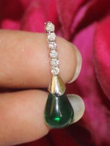 0.13ct Natural Round Diamond 14K Solid White Gold Emerald Wedding Pendant