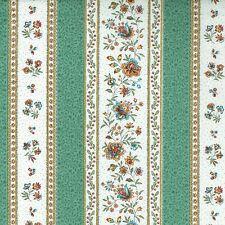 Textiles français Provençal fabric GORDES Paris Green and Ecru - per 1/2 metre