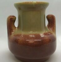 "Vintage Boys Town Art Pottery Vase With Handles 5"" Tall Golden Brown"