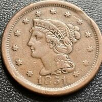 1851 Large Cent Braided Hair One Cent 1c VF - XF CLIPPED PLANCHET ERROR #29025