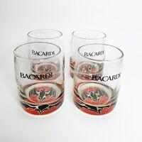 4 Bacardi Rum Batwing Glass Tumblers Rocks Glasses Gold Black Red Advertising