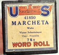 VINTAGE PLAYER PIANO WORD ROLL U S MARCHETA 41850 WALTZ