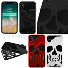 Apple iPhone Xs Max Hybrid Skull ShockProof Protective Rubber Rugged Case Cover