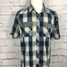 Beans And Bones Men's XXL Blue Plaid Button Front Short Sleeve Shirt