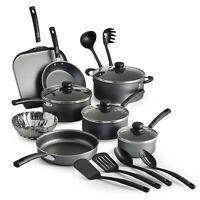 Primaware 18 Piece Non-stick Cookware Set Kitchen Home Pots & Pans Set Red/Gray
